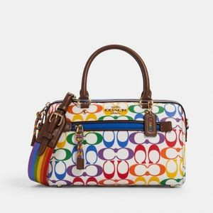 Coach Rowan Rainbow Signature Canvas Satchel New!
